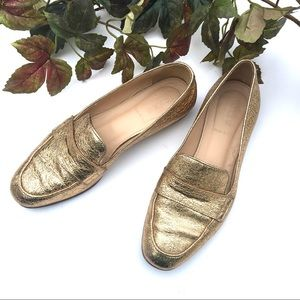 J.Crew Gold Foil Leather Loafers 6.5